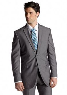 Adolfo Silver Slim Fit Silver Suit Separate Coat
