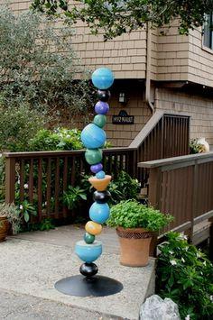 Ceramic totem. Artistic shapes