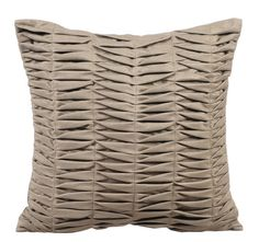 Stone Grey Wind Folds - 16x16 Stone Grey Pleated Suede Throw Pillow.