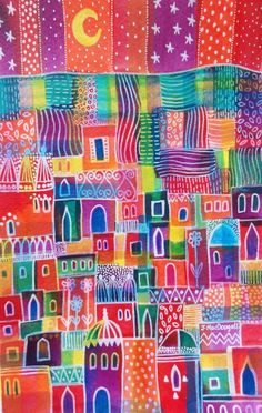 ARTFINDER: Patchwork Town by Janice MacDougall - This is an original watercolour and acrylic ink painting, painted on good quality watercolour paper. It measures 15x22.5 cm 6x8.75 inches and comes unmounte...