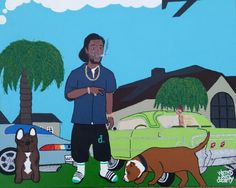 "A 20/16"" Canvas Painting Of Recording Art Curren$y Mint 76 Chevy Impala Ice Blue Chevy Camaro And A Couple Of Palm Trees And Pups Jet Life"