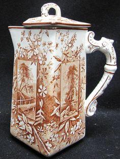 Aesthetic English Transferware Ridgway Vistas Pitcher Chocolate Coffee Pot circa 1880s