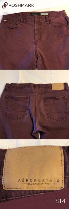 Aeropostale burgundy skinny jeans No stains or rips in seam is 29. Hip to hip measures 17 inches. Aeropostale Jeans Skinny