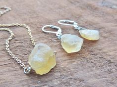 Raw Citrine Nugget Necklace  Earrings Raw by MysticTortoise
