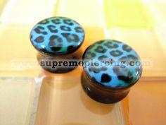 """1/2"""" 12mm Blue Green Leopard Skin Double Flare Flesh Plugs"""