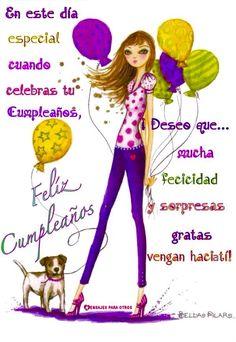 En este día especial celebras tu Cumpleaños ¡Deseo que mucha felicidad y sorpresas gratis vengan hacia ti! Happy Birthday Beautiful, Happy Birthday Girls, Happy Birthday Pictures, Happy Birthday Wishes, Birthday Greetings, Birthday Cards, Birthday Blessings, Beautiful Gif, Happy B Day