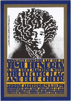 This iconic poster is by famous rock poster artist; John Van Hamersveld for the Pinnacle Concert in 1968 . The Jimi Hendrix Experience, The Soft Machine, Electric Flag (with Michael Bloomfield), and Blue Cheer - Shrine Auditorium Rock Posters, Band Posters, Music Posters, Surf Posters, Hippie Posters, Vintage Rock, Vintage Music, Vintage Style, Vintage Concert Posters