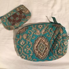 VB Toiletry and Change Purse Aqua blue paisley toiletry bag and Id case/ change purse. Used but still in great condition! Vera Bradley Bags
