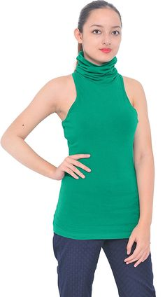 Marycrafts Womens Slim Fit Cotton Jersey Turtleneck Sleeveless Top ** Visit the image link more details.