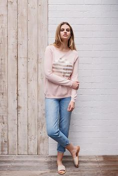 The Tilda knit has combined our best selling applications - foil print & stripes on our signature spot to create a gorgeous new look. ο Dusty pink with pal Studio, Dusty Pink, New Look, Jumper, Spring Summer, Stripes, Knitting, Fashion, Moda