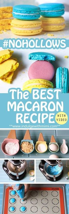 Macaron Recipe by Mimi The Best Macaron Recipe with detailed instructions and video tutorial showing you key visual markers at each stage.The Best Macaron Recipe with detailed instructions and video tutorial showing you key visual markers at each stage. Best Macaron Recipe, French Macarons Recipe, French Macaroons, Macaroon Recipes, Baking Recipes, Cookie Recipes, Dessert Recipes, Fast Recipes, Macaron Cookies