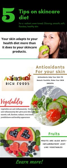 According to research, your body adapts to your diet more than it does to your skincare products (skin beauty products).  It is absolutely guaranteed that a diet rich in antioxidants, anti-inflammatory, zinc, potassium will magnificently change your skin`s appearance ( radiant, glowing, smooth, soft, well moisturised, flawless and even toned health appearance. Vitamin C Foods, Potassium Rich Foods, High Antioxidant Foods, Antioxidant Supplements, Zinc Rich Foods, Anti Oxidant Foods, Acne Cream, Essential Fatty Acids, Health Diet
