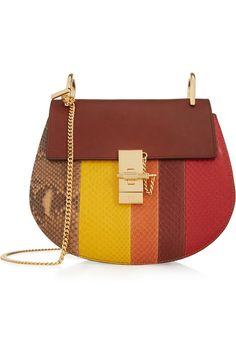 Chloé|Drew small python and leather shoulder bag|NET-A-PORTER.COM