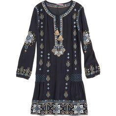 CALYPSO St. Barth Nona Embroidered Silk Dress ($475) ❤ liked on Polyvore featuring dresses, navy cc, embroidered dress, navy dress, silk dress, sequin shirt dress y blue dress