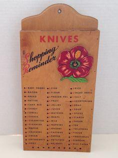 Vintage Wood Knife Holder Block Shopping Reminder Peg Board List Holds 4 Knives Wall Hanging #knife #block #wallhanging #groceryshopping #vintage