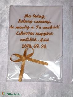 Szülőköszöntő kendő esküvőre - egyedi szöveggel (heidy3) - Meska.hu