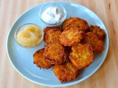 Learn to make perfect mini bite-sized potato latkes cooked extra crisp using six simple ingredients. Gluten free, kosher, pareve, dairy free.