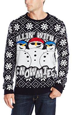 3 Santas Men's Chillin' with My Snowmies Sweater, Navy, Medium ❤ 3 Santas Mens Apparel