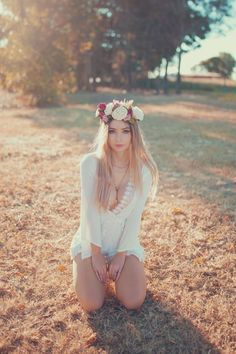Flower Crown by AmyThunderbolt Western Girl, Beauty Photos, Print Store, Pretty Pictures, Flower Crown, Boho Chic, Hair Styles, Sexy, Flowers