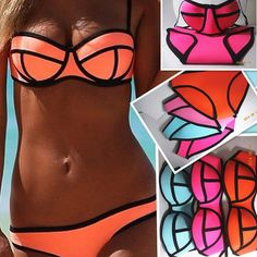 Swimwears Triangl Women's Fashion Neoprene Bikinis Woman New Summer 2014 sexy Swimsuit Set bath suit Push Up Bikini Set Hot Sale on Etsy, $50.00