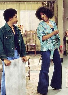 Willona from Good Times was so ahead of the game. Big hair. kimono. jeans
