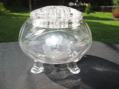 HUGHES CORNFLOWER ETCH TIFFIN FOOTED ROSE BOWL VASE WITH GLASS FROG INSERT