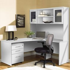 To make it perfect for your home office, this Unique Furniture 100 Collection Corner L Shaped Desk includes ample desktop space and handy, mobile. Office Desk With Hutch, Corner Desk With Hutch, Desk Hutch, Home Office Desks, Home Office Furniture, Unique Furniture, White L Desk With Hutch, Modern White Desk, White Desks