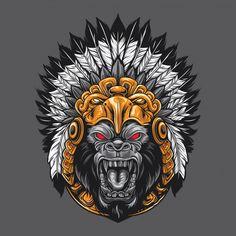 Aztec God Gorilla Artwork design Illustration by Owl Vector, Vector Art, Aztec Headdress, Dek Hockey, Gorilla Tattoo, Gorilla Gorilla, Mexican Art Tattoos, Samurai Artwork, Aztec Art