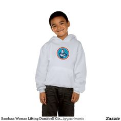Bandana Woman Lifting Dumbbell Circle Retro Hooded Sweatshirt. 2016 Rio Summer Olympics kids hooded sweatshirt with an illustration of a vintage female wearing a polka dot bandana working-out lifting a dumbbell facing front set inside a circle done in retro style. #weightlifting #olympics #sports #summergames #rio2016 #olympics2016