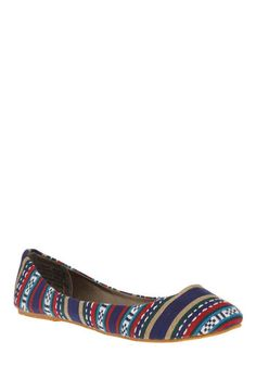 Weavie Wonder Flat  Such a cute print! One costumer said to go 1/2 a size smaller than usual, but other than that these shoes have had great reviews!  $27.99  #ModCloth