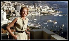Princess Grace is wearing beige bouclé dress by Givenchy, photo by Howell Conant overlooking the bay in Monaco, 1963 | by skorver1