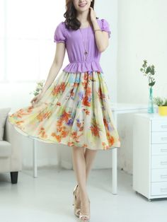 round neck chiffon floral casual dress Casual Dresses from stylishplus.com
