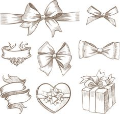 Find Vintage Ribbon Bow Banners Hand Drawn stock images in HD and millions of other royalty-free stock photos, illustrations and vectors in the Shutterstock collection. Compass Tattoo, Bow Drawing, Gift Drawing, How To Draw Ribbon, Desenho Tattoo, Christmas Drawing, Christmas Bows, Ribbon Bows, Ribbons