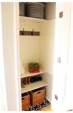 Coat Closet Organization, Bedroom Closet Storage, Hallway Closet, Closet Shelves, Organization Ideas, Shoe Storage, Storage Ideas, Closet Doors, Shoe Closet