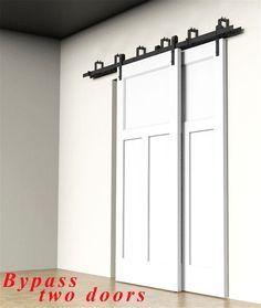 Wonderful 4FT 20FT Country Bypass Double Wood Sliding Barn Door Hardware Closet Track  Kit