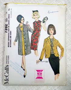 Vintage Pattern McCall's 7392 1960s 1964 Mad Men Ladies skirt suit Bust 34 Blazer jacket Jackie Kennedy Onassis cloth coat shift dress