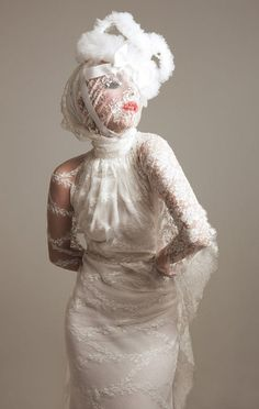 Lady Gaga Max Abadian photoshoot for 944 magazine. Lace dress by Haus of Gaga. Crown by Mouton Collet....