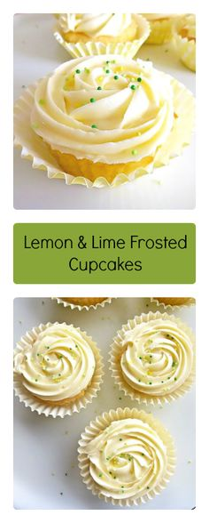 Simple lemon and lime cupcakes topped with rich lime buttercream frosting