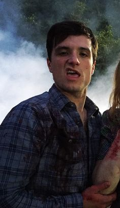 Josh Hutcherson on the set of The Long Home