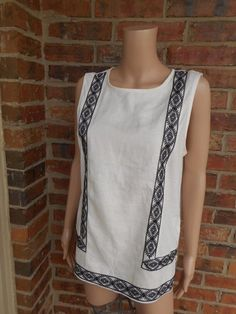 MADEWELL Linen Front Embroidery Tank Top M Medium A4578 Spring 2014 Sleeveless #Madewell #TankCami #Casual