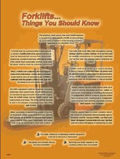 Forklift Safety Poster containing list of things every forklift operator should know