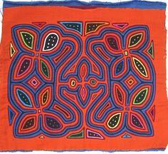 Floral Mola made by Kuna (Cuna) Indian people of Panama's San Blas Islands.