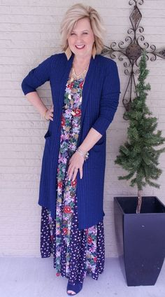 50 IS NOT OLD | LONG FLORAL MAXI DRESS FOR SPRING | FASHION OVER 40 | Looking taller and thinner | Navy and Gold | Fashion over 40 for the everyday woman