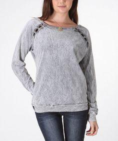 Gray Cutout Boatneck Sweatshirt