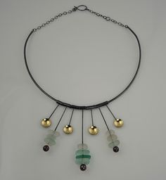 Oxidized sterling silver handcrafted neckwire, sea glass, 18k gold bimetal. www.jheatherdesigns.com