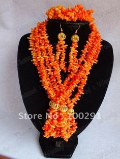 Hotsale!!Orange Five Strand Branch Beads African Wedding Bridal Coral Jewelry Set $62.01