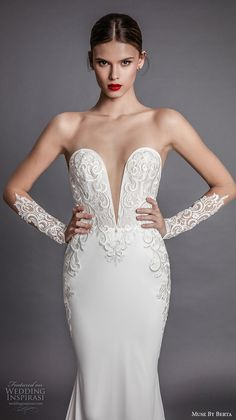 muse berta fall 2017 bridal strapless deep plunging sweetheart neckline heavily embroidered bodice elegant sexy sheath wedding dress open low back chapel train (alecia) zv