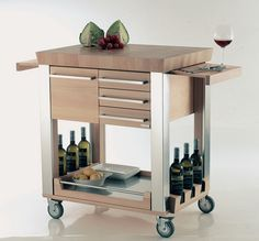 Modern Sleek Kitchen Cart Solid Wood And Stainless Steel Material Natural Wood Finish Shelves And Drawer Storage Locking Casters Modern Sleek Kitchen Cart Kitchen