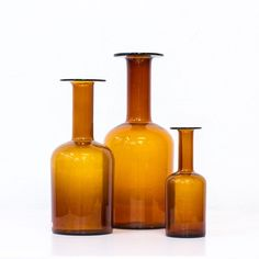 Set of 3 vases by Otto Brauer for Holmegaard, 1950s