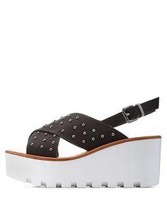 Charlotte Russe Bamboo Studded Slingback Flatform Sandals, on sale here: rstyle.me/n/bb573imtu6